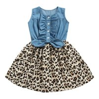 vestido sin mangas con estampado de leopardo al por mayor-Ins estampado de leopardo vestidos de las niñas niños ropa de verano niñas vestido de mezclilla niños vestidos niñas ropa de diseñador de los niños niña A5590