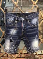 medio real al por mayor-Imagen Real Italia ICON Hombres D2 Ripped Jeans # 0275 Motocicleta Moda Biker Short Jean Pantalones de mezclilla Casual Streetwear Agujero Estilo Shorts Jeans
