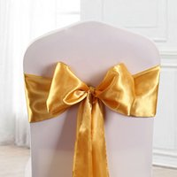 ingrosso fasce oro satinato oro sedia-telai sedia oro / poltrona decorativa / nastri sedia da sposa / nodi matrimonio / sedia fiocco oro 100 pz