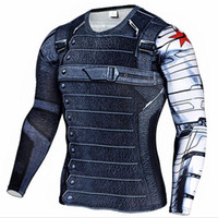 Wholesale superhero long sleeve t shirts for sale - Group buy Marvel Superhero Winter Soldier Bucky D Men T Shirt Fitness Crossfit T Shirt Long Sleeve Compression T Shirt Men S Clothing Harajuku