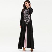 uzun kaftan siyah abayas toptan satış-Siyah abayas müslüman elbise dubai Robe Abaya İslam Müslüman kadınlar için Ortadoğu abaya femme uzun Elbise kaftan # G9 + 1