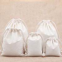 pequeña pulsera de embalaje al por mayor-7x9 9x12 10x15 13x18 15x20cm bolsa de cordón de algodón Pequeña pulsera de muselina Regalos Bolsas de embalaje de joyería Bolsa de regalo de lazo lindo Bolsas