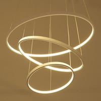 cuerpo circular al por mayor-Anillo circular moderno Luces colgantes 3/2/1 Anillos circulares Cuerpo de aluminio acrílico Iluminación LED Lámparas de techo