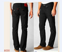 gefütterte jeans großhandel-Mens Straight Jeans Lange Hosen Hosen Mens True Coarse Line Religion Jeans Kleidung Mann Casual Bleistift Hose Blau Schwarz Denim Hose 968