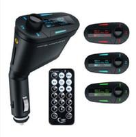 modulador de luz venda por atacado-Kit de Carro MP3 Player Sem Fio FM Transmissor Modulador wma sem fio USB SD MMC LCD Com Luz Remoto Azul / vermelho