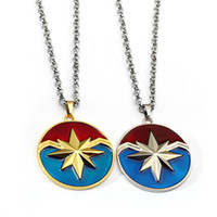 Wholesale drop shipping cosplay online - Avengers Captain Marvel Necklace Star Logo Pendant with link Chain Movie Cosplay Jewelry Drop Shipping