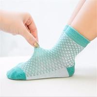 цветные детские летние носки оптовых-LILIGIRL Solid Color Baby Girls Cotton Socks and Toddler Boys Mesh Sock for Children Summer Clothes Clothing