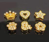 bracelets gold slide letters al por mayor-10 UNIDS 8 MM Chapado en Oro Estilo Mixto Rhinestone Completo Encantos de la Diapositiva Letras Fit 8mm Cinturones Pulseras Collares Para Mascotas