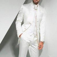 damadın ustalığı toptan satış-Vintage Uzun Beyaz Uzun Düğün Smokin Damat 2019 Üç Parçalı Custom Made Örgün Erkekler Suits (Ceket + Pantolon + yelek)