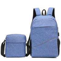 ingrosso set sacchetto di scuola coreano-2pcs set zaino da viaggio uomini multi-funzionale coreano moda stile borsa del computer portatile borse zaini zaino affari sacchetto maschio