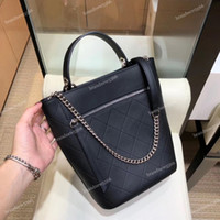 Wholesale single chain bucket resale online - 19 Fashion Import Calfskin Bucket Bag Black Women s Genuine Leather Chain Croosbody Shoulder Bag Large Shopping Tote Female Handbags w Strap