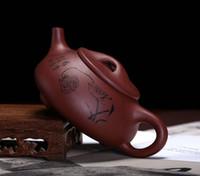 Wholesale yixing teapot clay for sale - Group buy Stone drum Teapot Yixing Teapot ml Zisha Tea Pot Shipiao Tea pot Purple Clay Teapot Handmade Kung Fu Teaset hexiaoshipiao