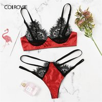 86141c3972 COLROVIE Contrast Lace Cut Out Sexy Lingerie Set Women Intimates 2019  Spring Fashion Transparent Wireless Underwear Bra Set. 34% Off