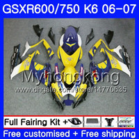 Wholesale k6 kit resale online - Body For SUZUKI GSXR GSX R600 R750 GSXR750 HM GSX R600 GSXR Yellow CORONA K6 GSXR600 Fairings kit