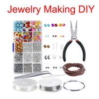 fazer brinquedos educativos venda por atacado-Colorido acrílico Beads Set para fazer jóias DIY Craft pulseiras colares Brinquedos Educativos Para Apreciação Jóias Friendship Bracelet N72Y