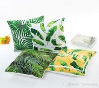 patrones de caja de tela al por mayor-caja de la tela de seda imitada hoja verde modelo muebles Impresión digital funda de almohada fundas de colchón hogar Decoración del hogar