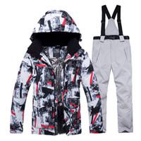 jaquetas calças de esqui venda por atacado-Jaqueta + Strap pant Define Roupa de Neve dos homens ao ar livre roupas esportivas conjuntos de snowboard à prova d 'água à prova de vento Traje de Esqui de Inverno