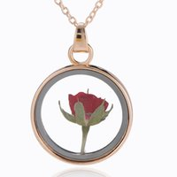 kurutulmuş çiçekler cam kolye toptan satış-Tasarımcı takı çiçekler kolye kolye kurutulmuş gül çiçekler cam daire yuvarlak kolye kolye kadınlar için hediye olarak