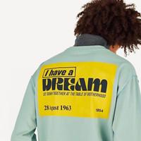 suéter de los hombres amarillos xl al por mayor-19FW I Have a Dream Splicing Jersey de manga larga Jersey de cuello alto Street Yellow Sign Casual Splice Hombres Mujeres Suéter Sudadera Camiseta HFHLWY014