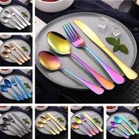 ingrosso forchette occidentali-Nuovo Set di posate in acciaio inossidabile Coltello, forchetta, cucchiaio, coltelli occidentali placcati in titanio Coltello da bistecca e set di posate da tavola 4964