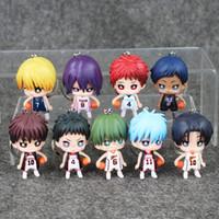 ingrosso ciondolo cestino-9 pz / lotto 6 cm Anime Kurokos Basket Kuroko No Basuke Mini Pvc Figure Giocattoli Portachiavi Ciondoli Per I Bambini
