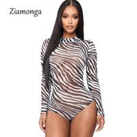 ternos de zebra venda por atacado-Ziamonga Sexy Bodysuit Mulheres Zebra Animal Print Preto Branco Gola Alta Manga Longa Terno Do Corpo Tops de Verão de Malha 2019 Topos Femininos