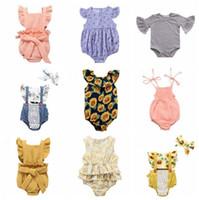 düz renk çocuk giyim toptan satış-Bebek Tulum Çocuklar Yaz Ayçiçeği Tulumlar Kız Giysileri Yenidoğan Katı Casual Onesies Bebek Sinek Kol Bodysuit Takım Tırmanmaya 51 Renk B5475