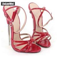 erkekler için burunlu ayakkabı toptan satış-Kırmızı Mavi Fetiş Yeni 2019 Ayak Bileği Kayışı toka Sivri Burun sandalet Kadın yüksek topuklu Metal Ince Topuk 18 cm Yaz Ayakkabı Adam COSPLAY
