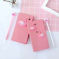 cuaderno diario al por mayor-New arrival Pink Flamingo Notebook Box Set Diary with Gel Pen Stationery School Supplies Gift for Girls Kids Students