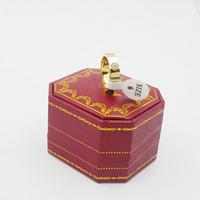 ingrosso anelli di fidanzamento imitazione anello bianco-NOVITÀ Anello da sposa in oro da uomo in acciaio inossidabile da donna mai sbiadito con scatola originale Set di anelli per gioielli da regalo in oro rosa / argento