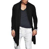 cardigan asimétrico hombres al por mayor-Hot Man Otoño Casual Cardigan Asymmetric Color Sólido Wrap Poncho Abrigo Outwear MSK66