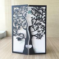 düğün davetiyeleri için süslemeler toptan satış-Chic Ağacı aşk Kuş Tasarım Lazer Kesim Inci kağıt Düğün Davetiyesi Kartları Parti Dekorasyon Doğum Günü Partisi Davetiye Tebrik Kartı