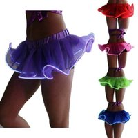 Wholesale light up clothes resale online - Light Up Tutu Gogo Dancing El Wire Accessory Clothing Skirt Rave Gear Colors
