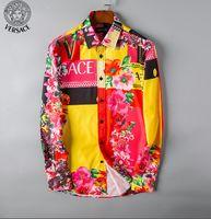europäische amerikanische hemdgrößen großhandel-Frühling / Sommer 2019 Mode neue europäische und amerikanische Menswear Markendesigner Business Casual gedruckt Langhülse Hemd Größe s-3xl -a4