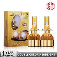 Wholesale 12v headlamp resale online - GUANGJI Led Car Headlight Double Color K White K Gold Color V LM H4 H7 H1 H8 H9 H11 Car Led Headlamp