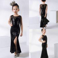 vestido de lantejoulas pretas crianças venda por atacado-2019 Crianças Bonitos Trajes Formais Preto Lantejoulas Meninas Vestidos Para O Casamento Das Crianças Pageant Vestidos De Baile vestido