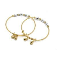Wholesale gold filled kids bracelet for sale - Group buy 2 Color Beads Bangle For Children Can Adjust Gold Filled Kids Birthday Gift Fashion Bracelet Dia mm