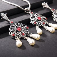 ingrosso resina jewellry-Set di gioielli etnici Collana con grandi orecchini ad uncino Set Turco Vintage Argento Colore Bijoux Arab Bride Perle in resina di cristallo Jewellry