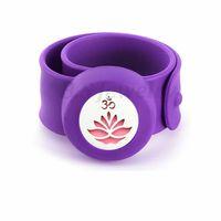 Wholesale lotus flower bracelets resale online - lotus flower Kids Adjustable Mosquito Repellent Bracelet Essential Oil Diffuser Perfume Children Silicone Bracelet