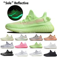 Wholesale genuine leather women shoes drop shipping resale online - With Box Drop Shipping Kanye West Clay V2 Static Reflective Glow In The Dark Mens Running Shoes True Form Women Men Sports Designer Sneakers