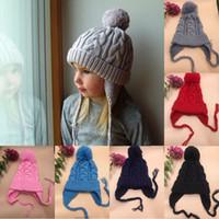 erkek örgüleri toptan satış-Yeni çocuklar Twisted örgü örgü şapka bebek erkek kız Eğlence Tığ kapaklar çocuk Sonbahar Kış sıcak başlık şapka 8 renkler C5641