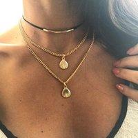 eingewickelte kette großhandel-Boho Shell Multilayer Halsketten Lady Wrap Choker Designer Anhänger Halskette Ketten Frau Partei Halskette Mädchen Strand Schmuck TTA863