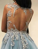 Wholesale back photos women resale online - Sexy jewel Beading Backless Prom Dresses Long Formal Dress Evening Wear Puffy Tulle Applique Women See Through Party Gowns Custom Made