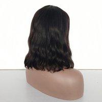 perucas remy indianas da parte dianteira do laço venda por atacado-150% Densidade Curto Bob Lace Front Wigs Onda Natural Do Cabelo Natural Remy Indiano Natural Preto Pré Arrancadas Nós Descorados Para As Mulheres