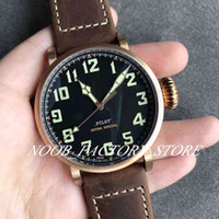 Wholesale leather watch straps pilot for sale - Group buy New V2 ZF Factory Automatic Movement Luxury Pilot MM C753 Watch Leather Strap Sapphire Bronze Case Wristwatches Men Watch