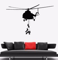 Wholesale helicopter military for sale - Group buy Vinyl Wall Decal Military Helicopter Soldiers Wall Sticker Special Forces Wall Art Mural Home Living Room Military Decor