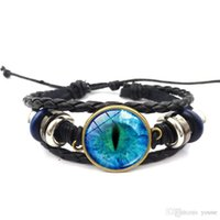 Wholesale glasses new dragon for sale - Group buy New cps Vintage black leather bracelet dragon eye Glass Cabochon Weave Multi layer Weave bracelet Women Men Jewelry