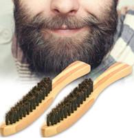 cerdas de pelo de cepillo de jabalí al por mayor-Cepillo de barba de madera peine de cerdas de jabalí para hombres bigote afeitado peine masaje facial cepillo de limpieza del pelo facial mango largo LJJK1607