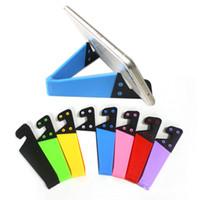 tablet pc celular al por mayor-Tenedor móvil plegable universal del soporte del teléfono celular para la tableta PC de Smartphone multicolor V en forma de V