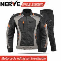 malla de montar chaquetas de moto al por mayor-NERVE Almohadilla protectora de la chaqueta de la motocicleta Motocross mesh traje de verano chaqueta de equitación pantalones combinaciones protectoras Conjuntos de motocicletas CE
